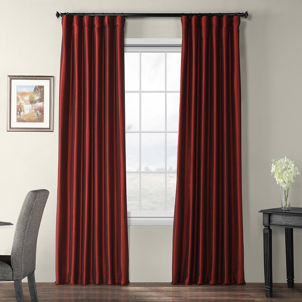 Syrah Red Blackout Faux Silk Taffeta Curtain - 50 in. W x 96 in. L