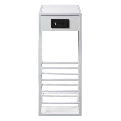 Javion White/White End Table with Magazine Holder, 2-USB Charging Ports, 2-Outlets and Power Plug