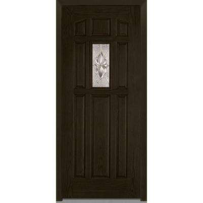 36 in. x 80 in. Heirloom Master Right-Hand Inswing 1-Lite Decorative Classic Stained Fiberglass Oak Prehung Front Door