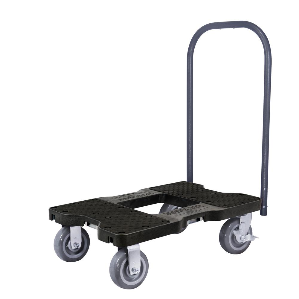 SNAP-LOC 1,800 lbs. Capacity Super-Duty Professional E-Track Push Cart Dolly in Black
