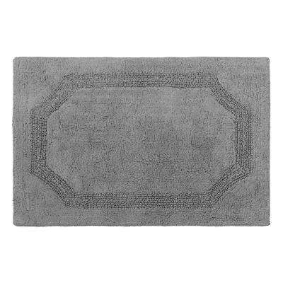 Reversible Charcoal 21 in. x 34 in. Cotton Bath Mat