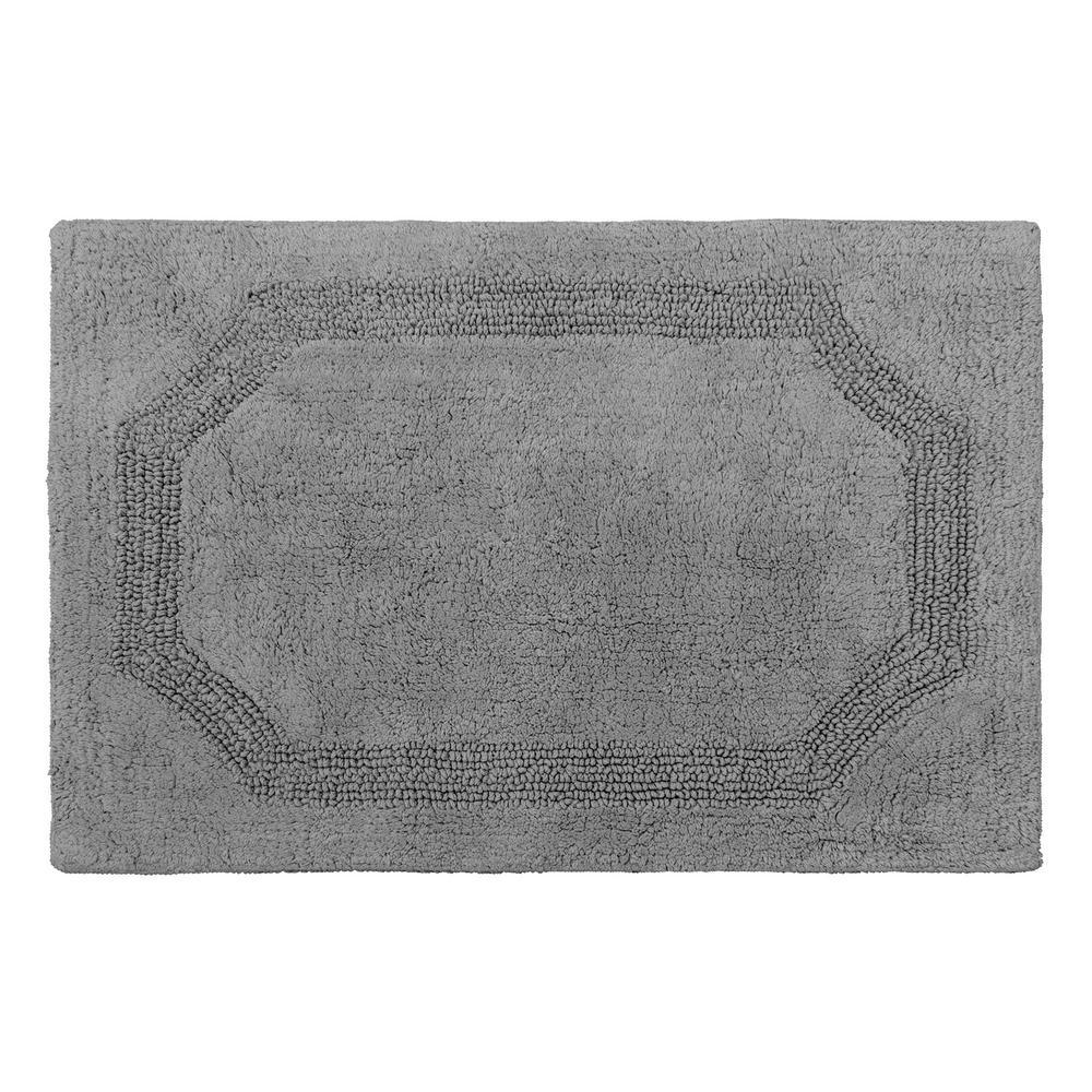 Reversible Charcoal Cotton 2-Piece Bath Mat Set