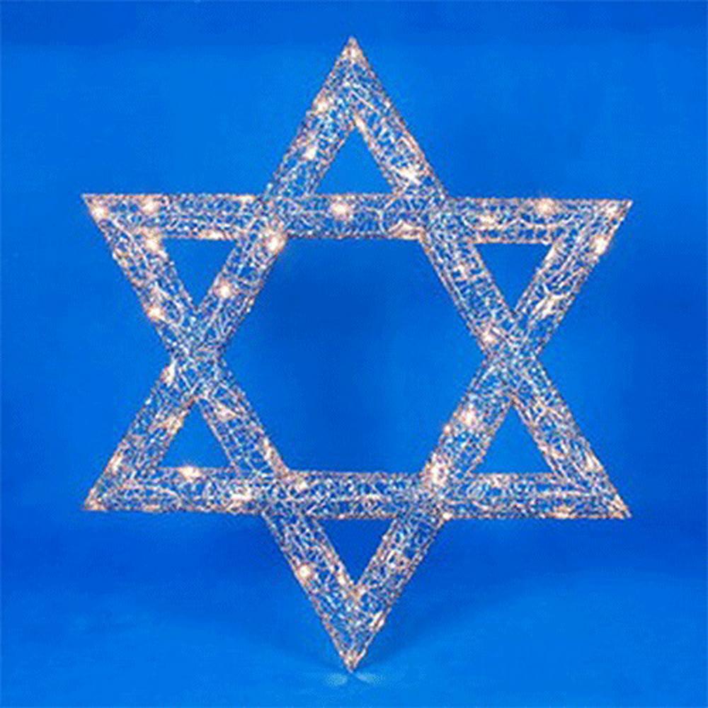 Hanukkah Lighted Star Of David Hanging Outdoor Decoration