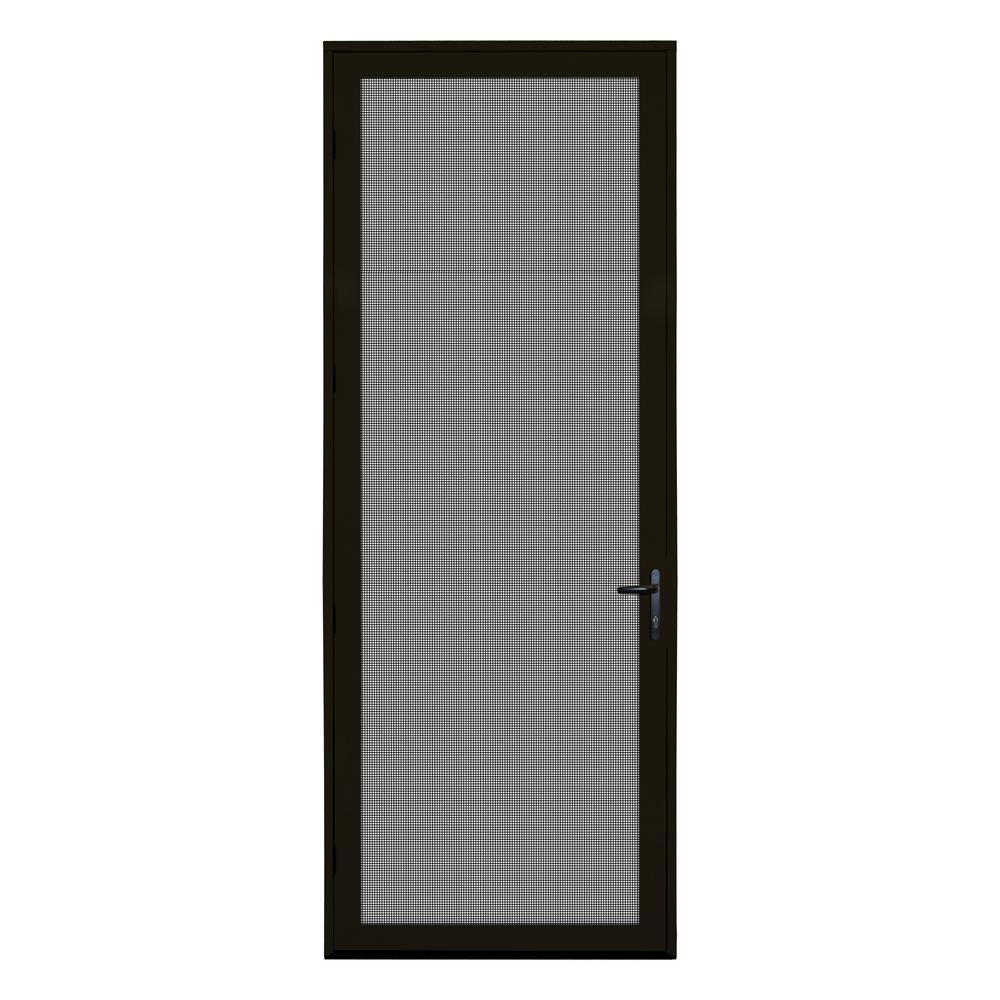 Unique Home Designs 36 In X 96 In Bronze Surface Mount Left Hand Ultimate Security Screen Door