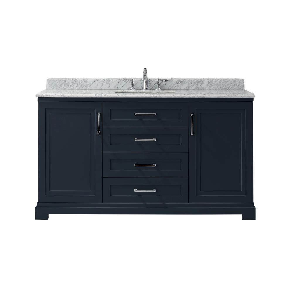 Martha Stewart Living Lynn 60 in. W x 22 in. D Vanity in Midnight Blue with Marble Vanity Top in White with White Basin