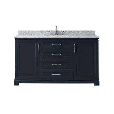 Lynn 60 in. W x 22 in. D Vanity in Midnight Blue with Marble Vanity Top in White with White Basin