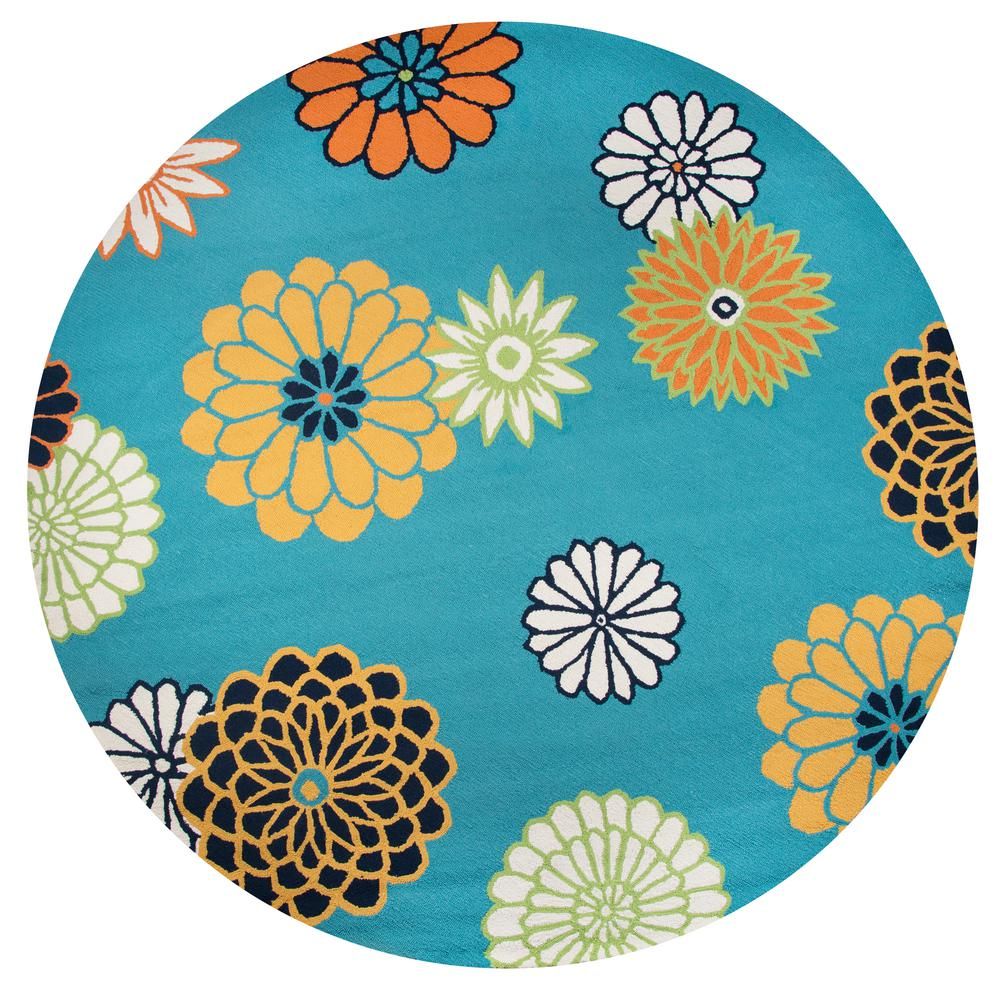 Teal Floral Area Rug: Rizzy Home Azzura Hill Teal Floral 8 Ft. X 8 Ft. Round