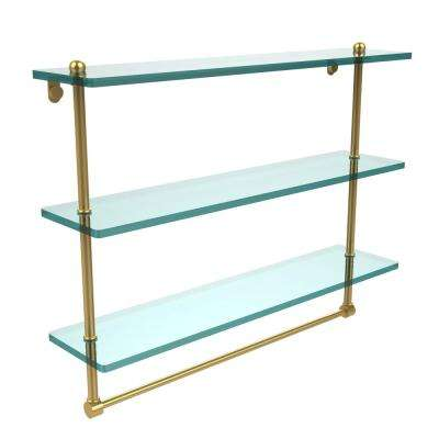 22 in. L  x 18 in. H  x 5 in. W 3-Tier Clear Glass Bathroom Shelf with Towel Bar in Unlacquered Brass