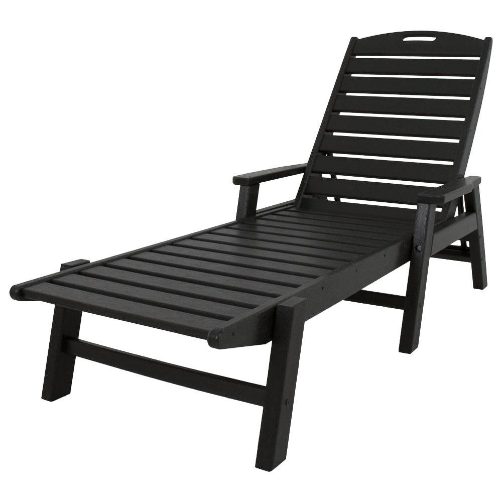 Polywood Nautical Black Stackable Plastic Outdoor Patio Chaise Lounge