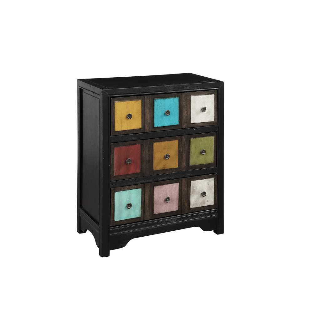 Boyel Living Black Frame Colorful Accent Storage Cabinets Chest With Drawers