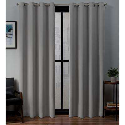 Sateen 52 in. W x 96 in. L Woven Blackout Grommet Top Curtain Panel in Veridian Grey (2 Panels)