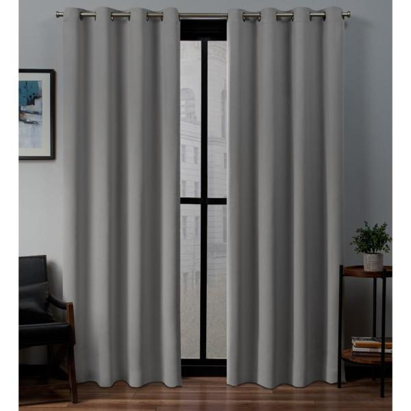 Exclusive Home Curtains Sateen 52 In W X 96 In L Woven Blackout Grommet Top Curtain Panel In Veridian Grey 2 Panels Eh7982 15 2 96g The Home Depot