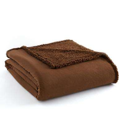 Chocolate Sherpa Back Polyester Twin Blanket