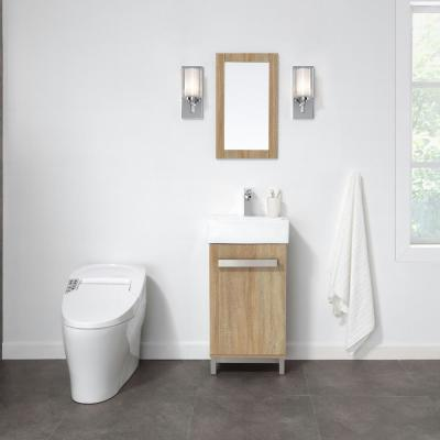 Maelynn 18 in. W x 12 in. D Vanity in Taupe with Ceramic Vanity Top in White with White Sink and Mirror
