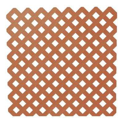 0.2 in. x 48 in. x 8 ft. Redwood Privacy Plastic Lattice