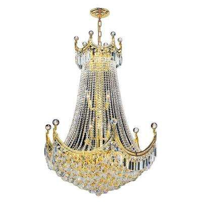 Empire Collection 15-Light Polished Polished Gold Chandelier with Clear Crystal