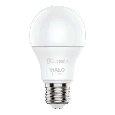 60W Equivalent A19 Dimmable Adjustable CCT (2700K-5000K) Smart Wireless LED Light Bulb in White by HALO Home (1-Pack)