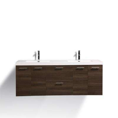 Luxury 84 in. W x 21.75 in. D Vanity in Gray Oak with Vanity Top in White with Gray Oak Basin
