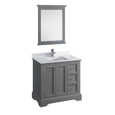 Windsor 36 in. W Traditional Bathroom Vanity in Gray Textured Quartz Stone Vanity Top in White with White Basin, Mirror