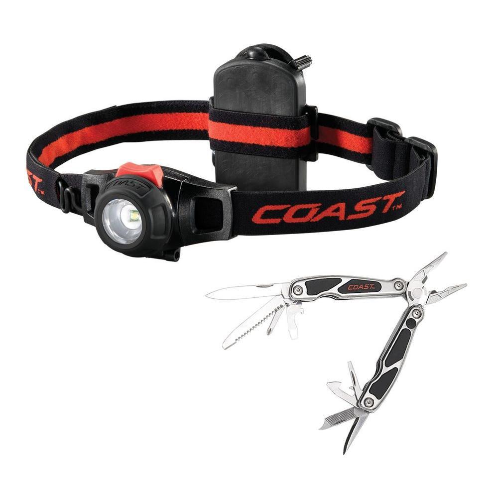 Coast 12-in-1 LED Micro Pocket Pliers and Dimming LED Headlamp Combo Pack