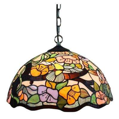 Tiffany Style 2-Light Floral Pendant Hanging Lamp 16 in. Wide