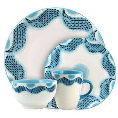 Seashore Breeze 16-Piece Blue Dinnerware Set