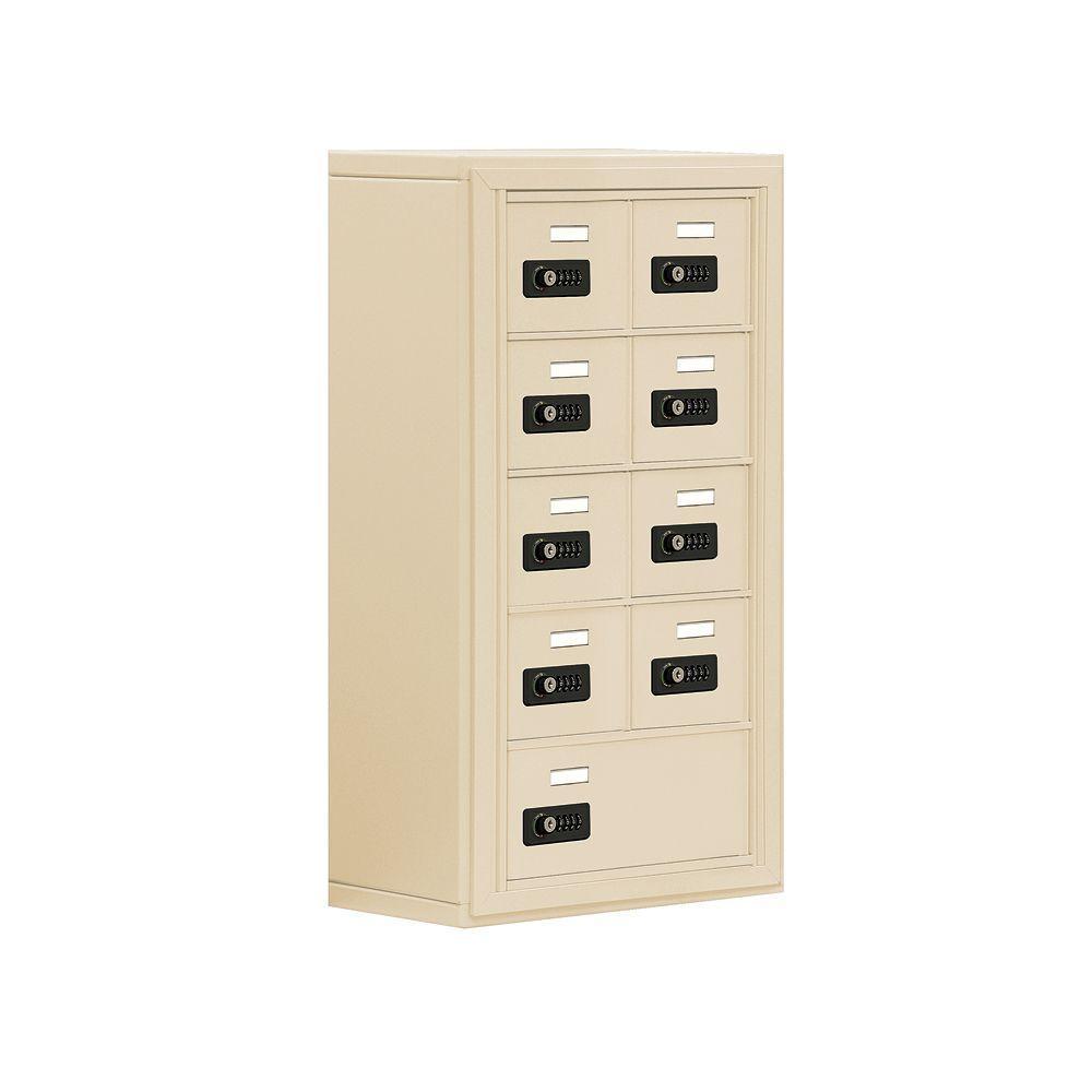 19000 Series 17.5 in. W x 31 in. H x 9.25 in. D 8 A / 1 B Doors S-Mount Resettable Locks Cell Phone Locker in Sandstone