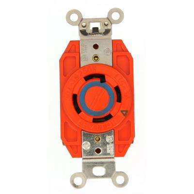 30 Amp 250-Volt 3-Phase Flush Mounting Isolated Ground Locking Outlet, Orange