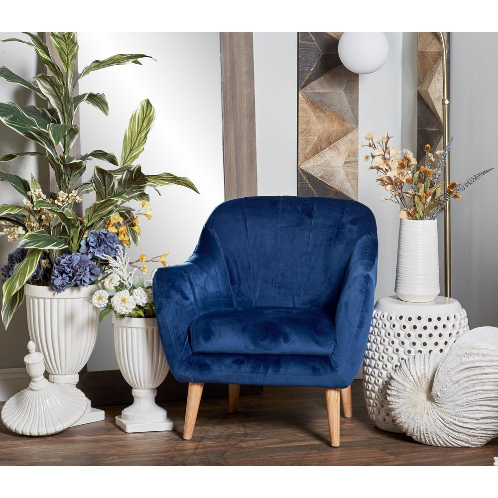 Blue Fabric and Wood Cushioned Arm Chair