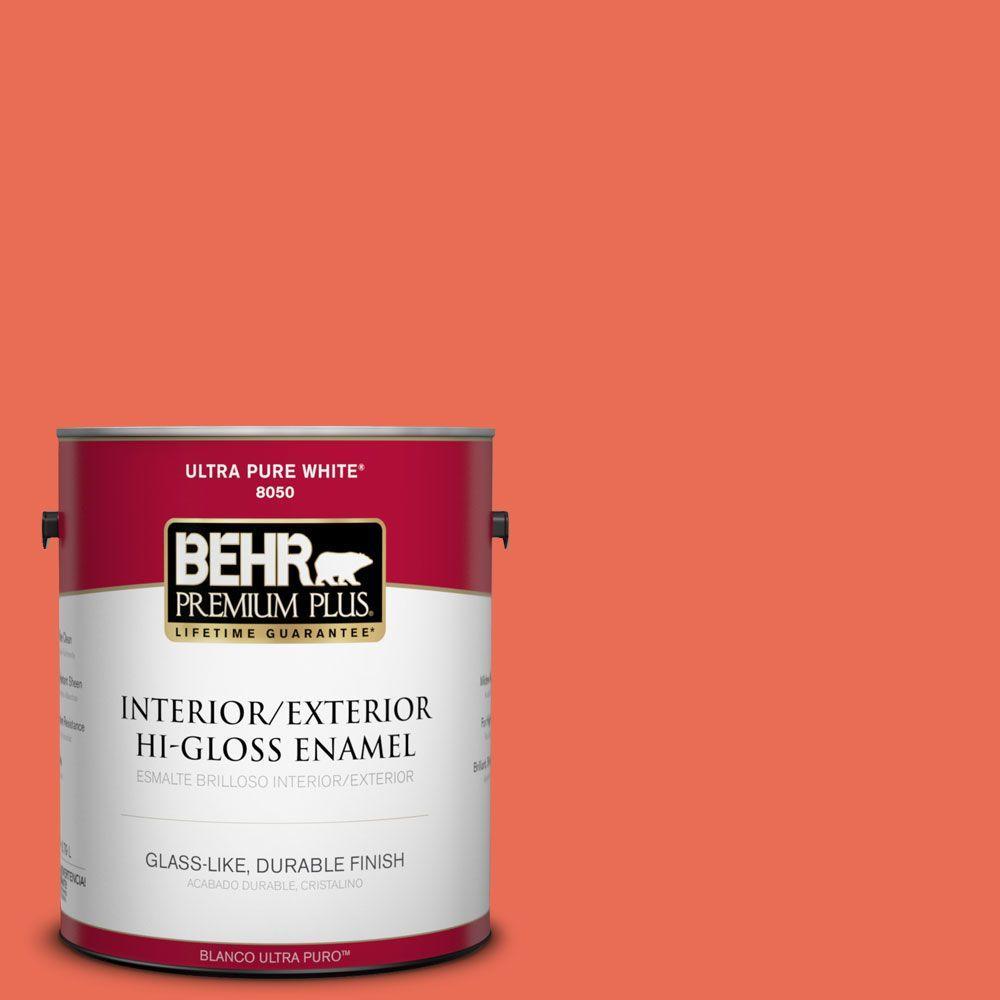 1-gal. #190B-6 Wet Coral Hi-Gloss Enamel Interior/Exterior Paint