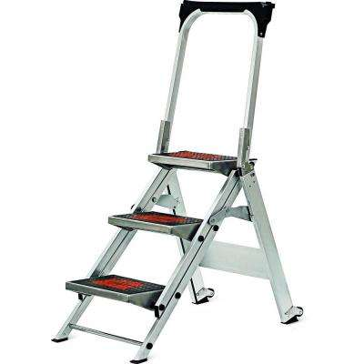 3 ft. Safety Aluminum Step Ladder with Bar 300 lb. Load Capacity Type IA Duty Rating