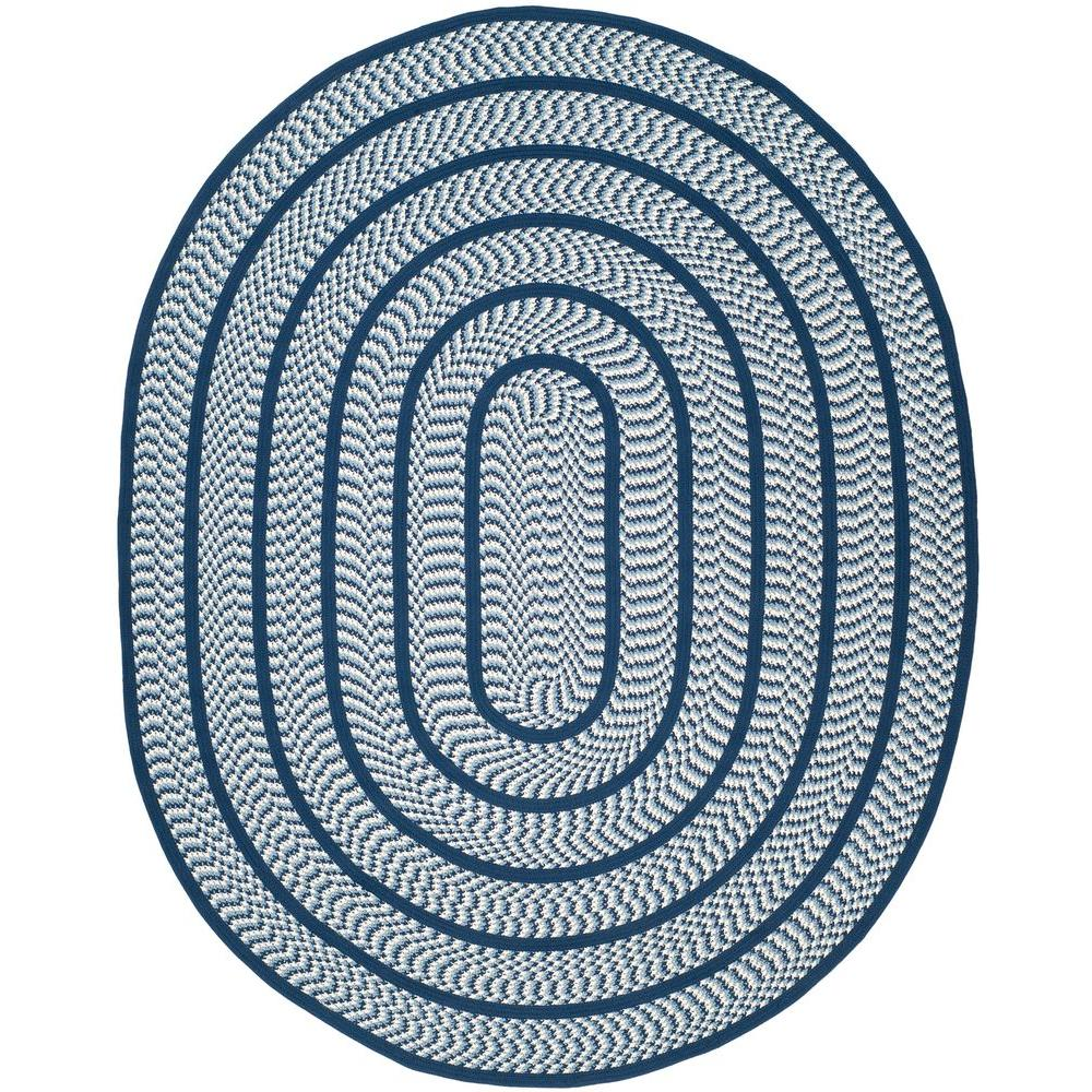 Safavieh Braided Ivory/Navy 8 ft. x 10 ft. Oval Area Rug