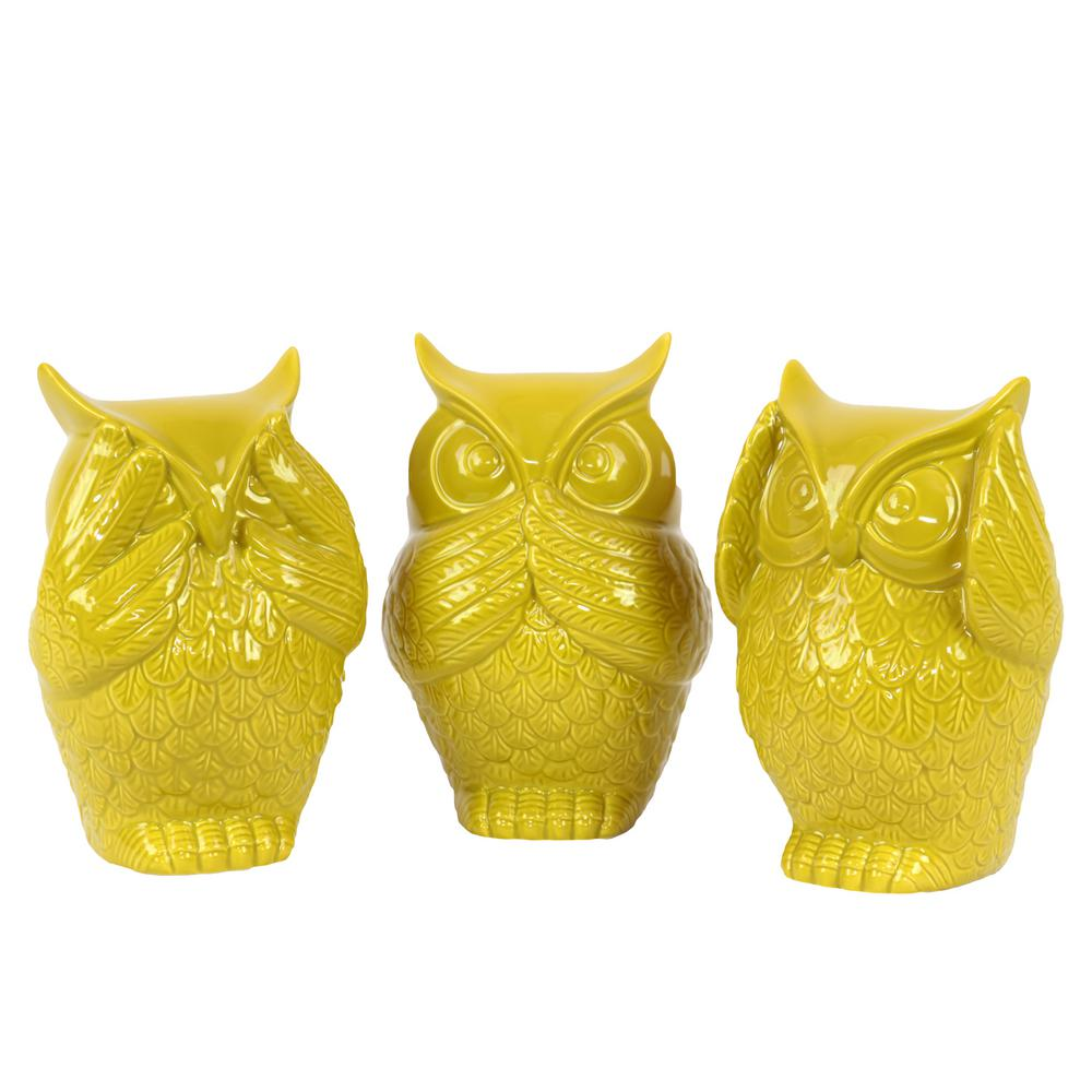6.5 in. H Owl Decorative Figurine in Yellow Gloss Finish (Set