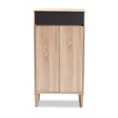 Fella 47 in. H x 24 in. W 10-Pair Oak and Gray Wood Shoe Storage Cabinet