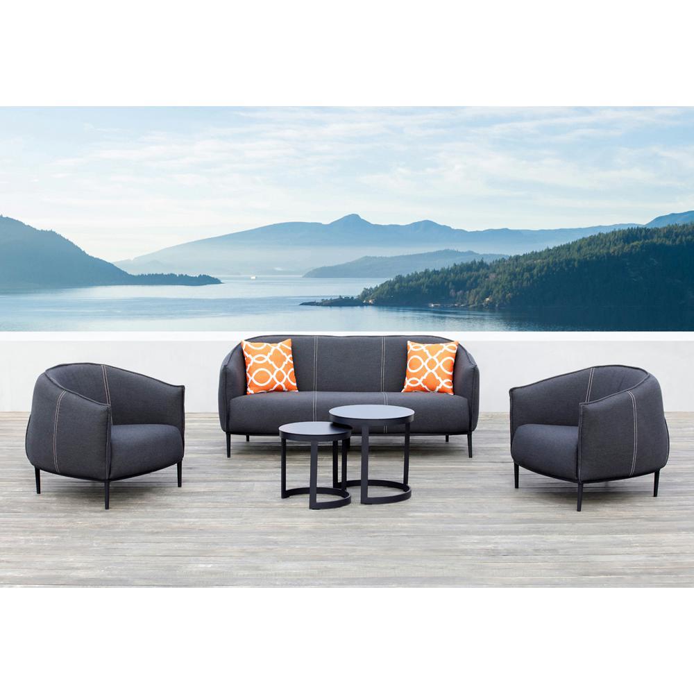 Ove Decors Aluminum Conversation Set Black Cushions