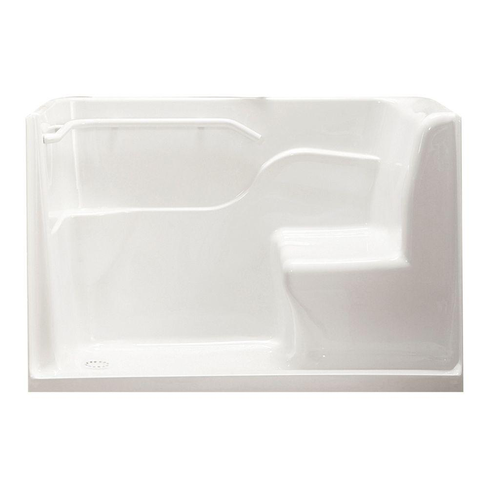 American Standard 5 ft. Left Drain Walk-In Seated Safety Shower in White
