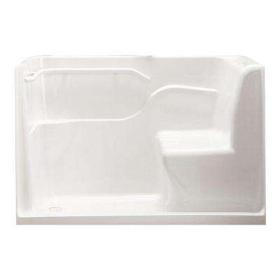 5 ft. Left Drain Walk-In Seated Safety Shower in White