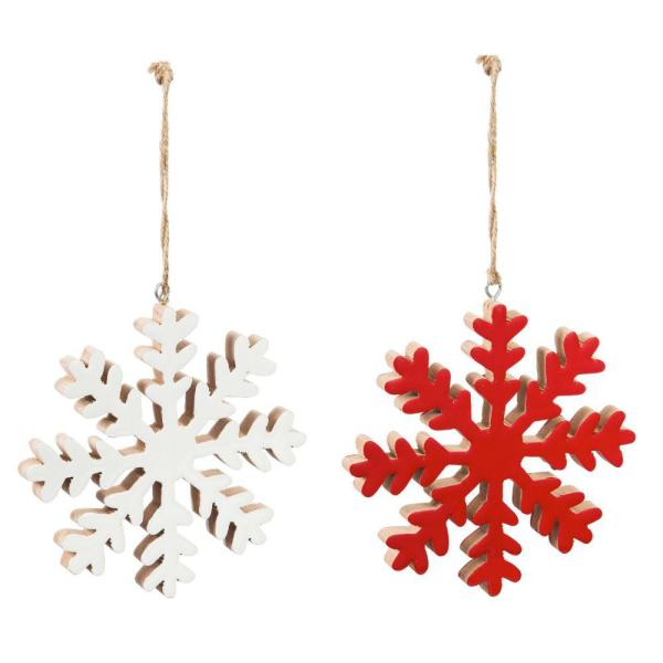 Evergreen 6 In Red And White Wood Snowflake Christmas Ornaments 2 Pack 3otw108ecm The Home Depot