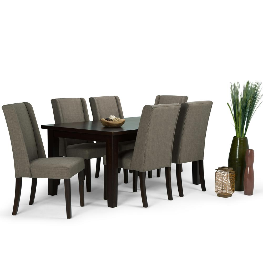 Simpli home sotheby 7 piece light mocha dining set for Jardin 8 piece dining set