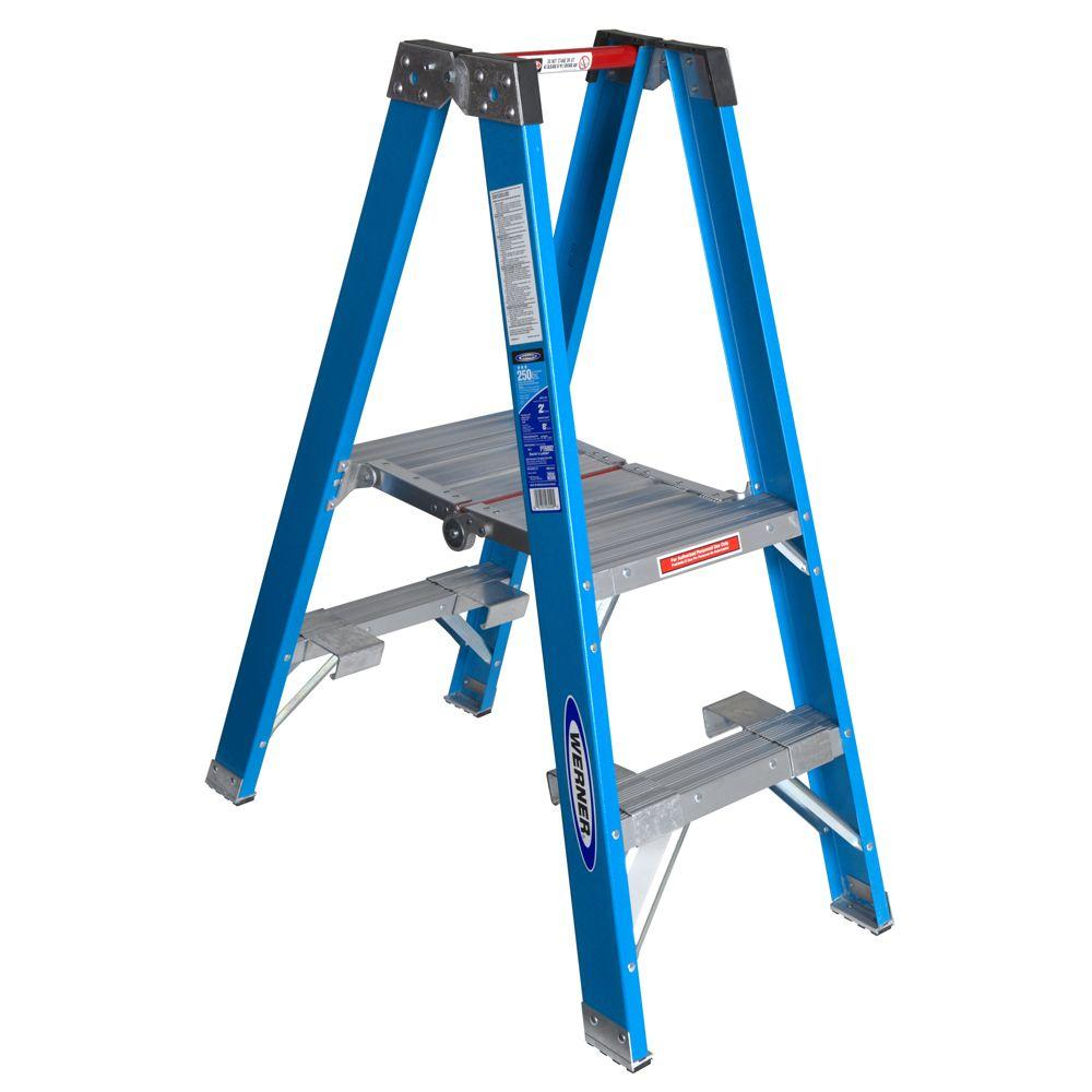 250 Lb Ladder Rating 10 : Werner ft fiberglass platform step ladder with lb