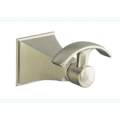 Memoirs Single Robe Hook with Stately Design in Vibrant Brushed Nickel