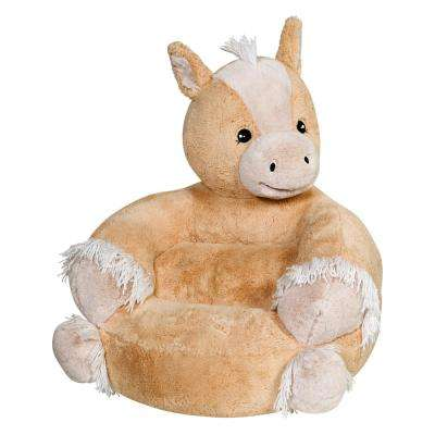 Brown, Tan Children's Plush Pony Character Chair