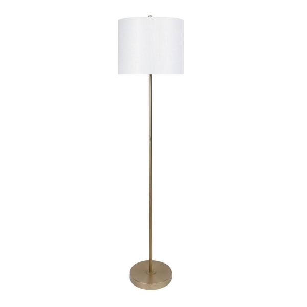 60 in. Gold Plated Floor Lamp with Slim-Line Design and Off-White Sparkly Linen Shade