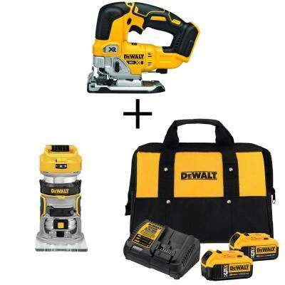 20-Volt MAX Li-Ion Cordless Brushless Jigsaw (Tool-Only) with Router (Tool-Only), 2 Battery 5 Ah, Charger and Bag