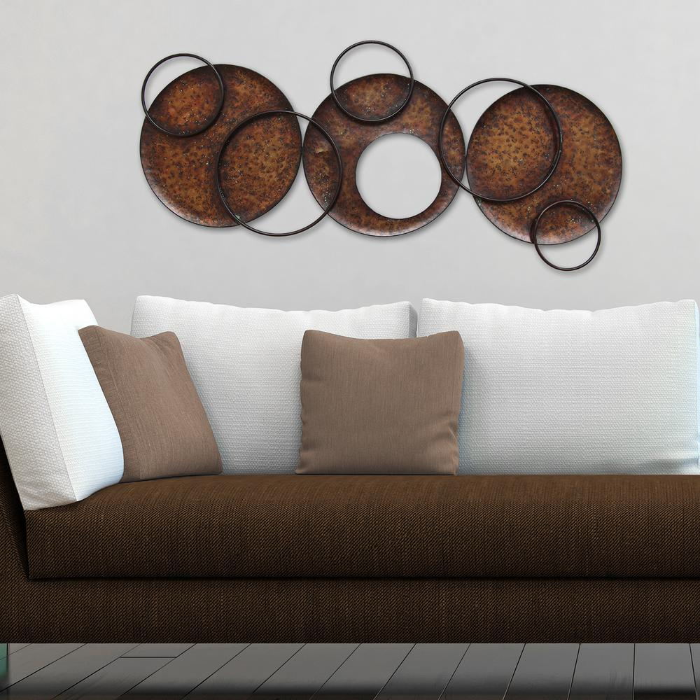 Brown Metal Wall Decor Stratton Home Decor Modern Circles Metal Wall Decors01230  The