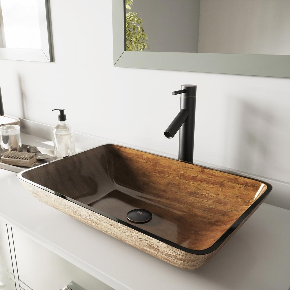 Vigo Glass Vessel Sink In Amber Sunset And Dior Faucet Set