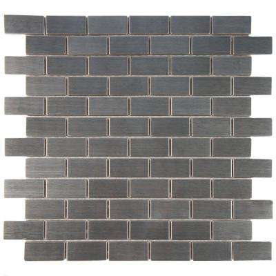 Meta Standard Subway 11-3/4 in. x 11-3/4 in. x 8 mm Stainless Steel Over Ceramic Mosaic Tile