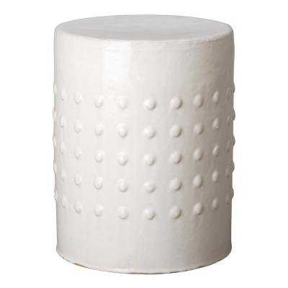 Stud Distressed White Ceramic Garden Stool