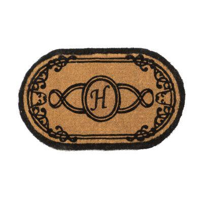 Perfect Home Lexington Brown 30 in. x 18 in. Oval Monogram H Door Mat-DISCONTINUED