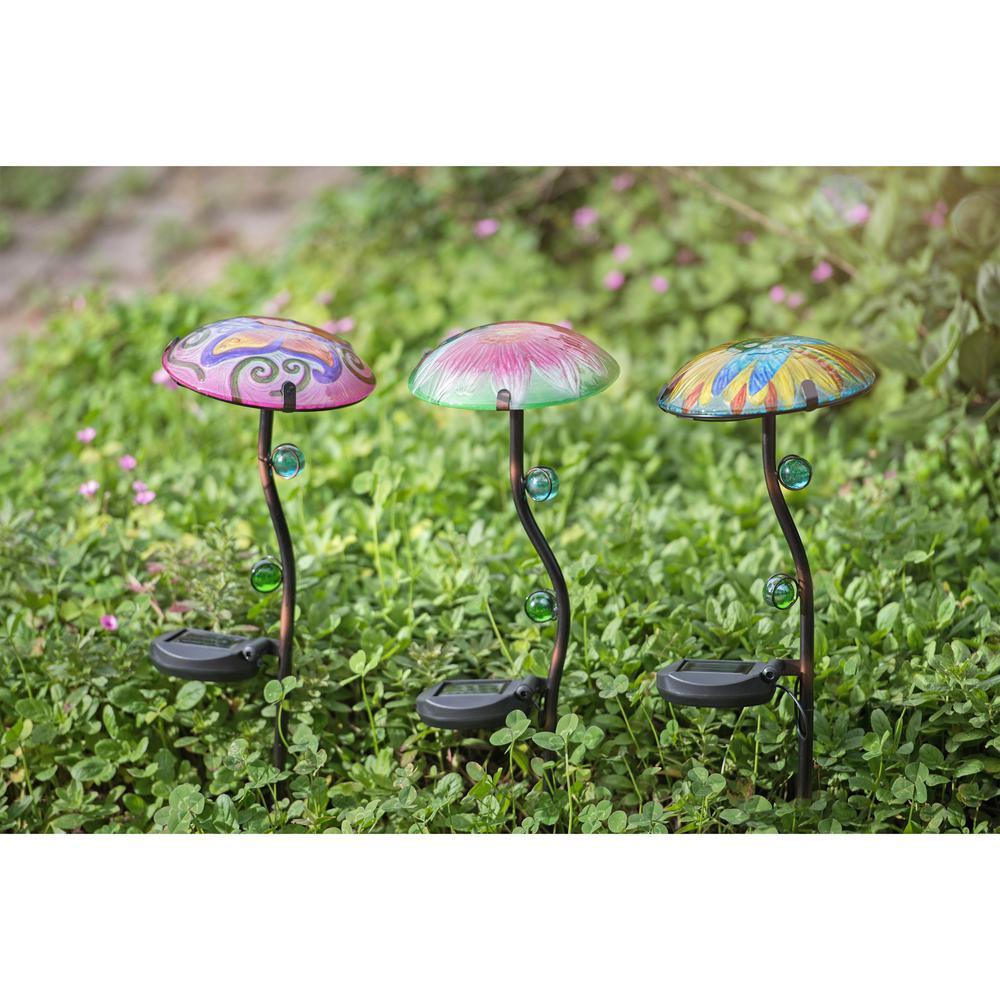 Sunjoy Mushroom LED Solar Garden Stake